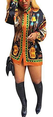 Speedle Womens African Shirt Dresses for Womens Long Sleeve Dashiki Print Top Blouse Black XL