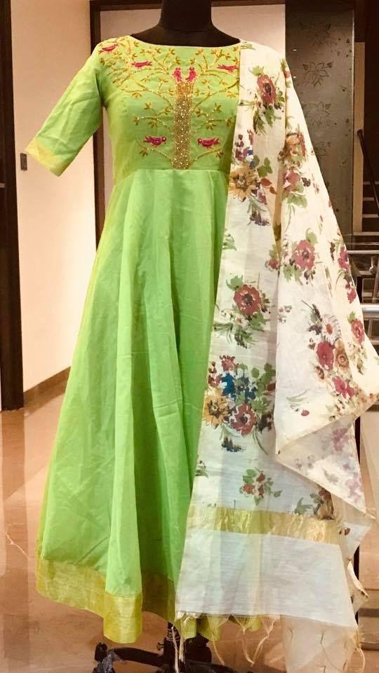 54a4a46eb5cc5 Beautiful parrot green color floor length dress with floral print dupatta. Floor  length dress with birds design hand embroidery thread work on yoke.