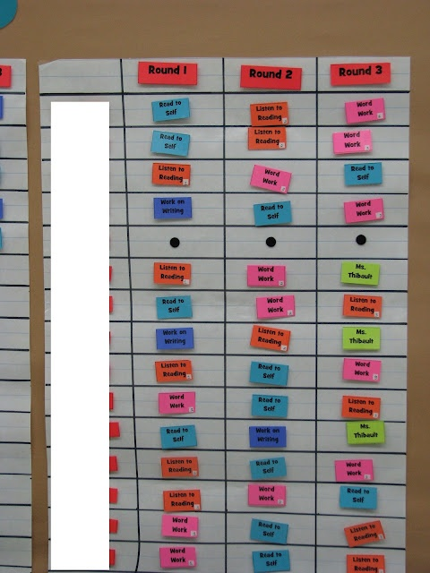 The Reading Corner: Daily 5 check in chart with velcro (baskets for cards sit below). I like the colored choices.