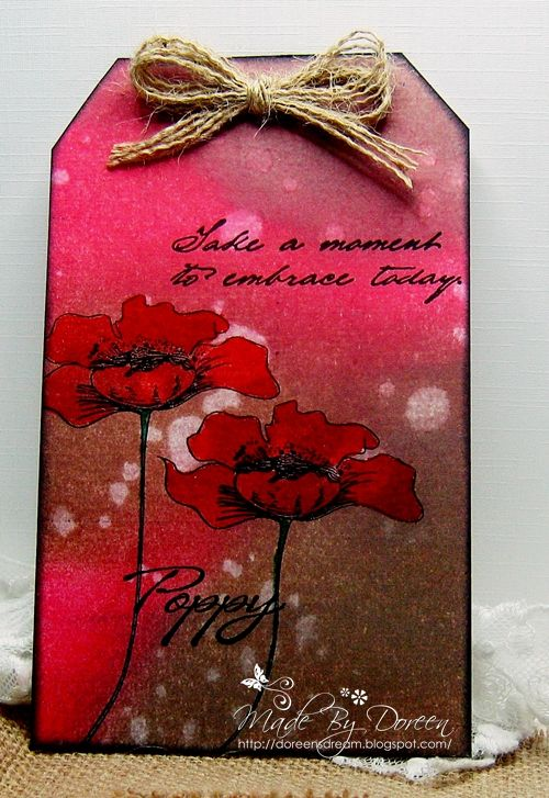 Hello I am sharing a tag today with some appropriate Red Poppies, they are the water colour Poppies from Inkylicious I have stamped th...