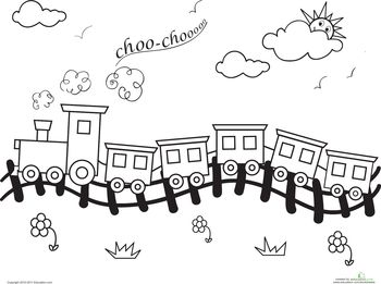 choo choo train coloring page