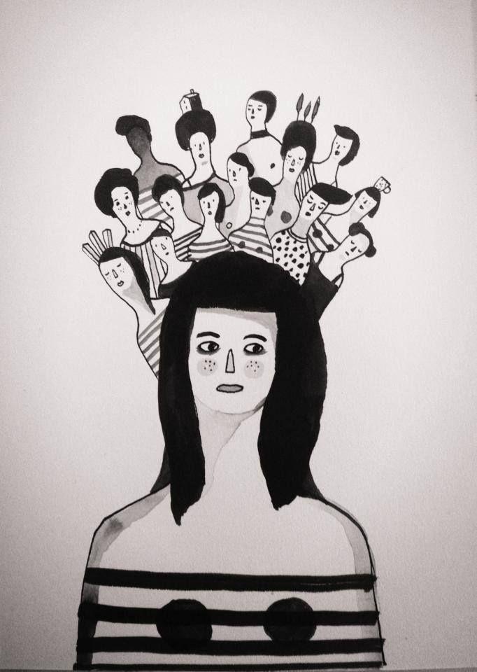 Pensieri in testa. Settembre #illustration #portrait #ink #woman #handmade #black&white #illustrazione #china