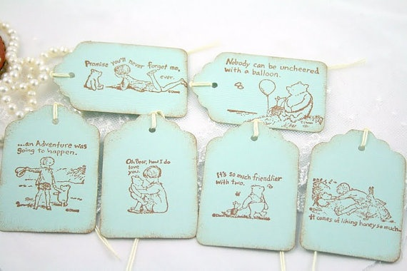 winnie the pooh tags favor tags baby shower birthday in blue pooh baby