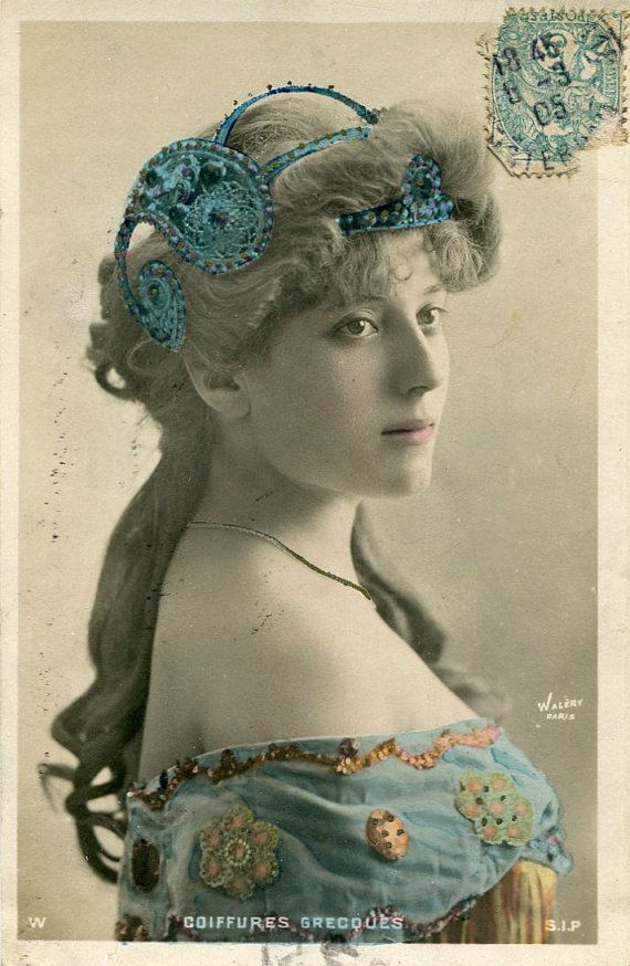 Original French vintage hand tinted real photo postcard