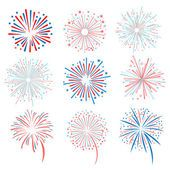 Vector fireworks on white — Stock Illustration #79036964