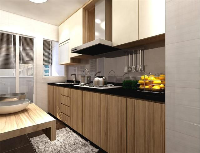 Fernvale 4 Room Hdb Flat At 22k Kitchen I Like The Wood Feel And The Black Solid Top