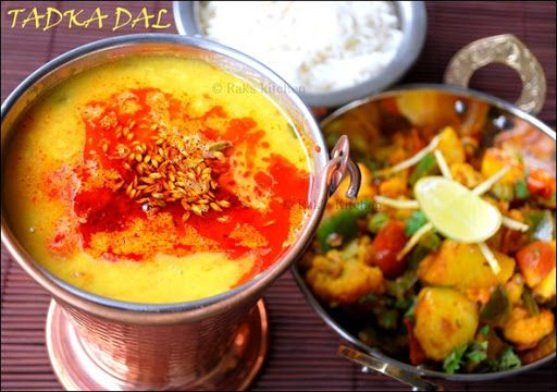 Dal fry with aloo gobi mutter fry