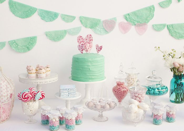It all looks so good! #wedding #events #candy #desserts #buffet #cake #teal