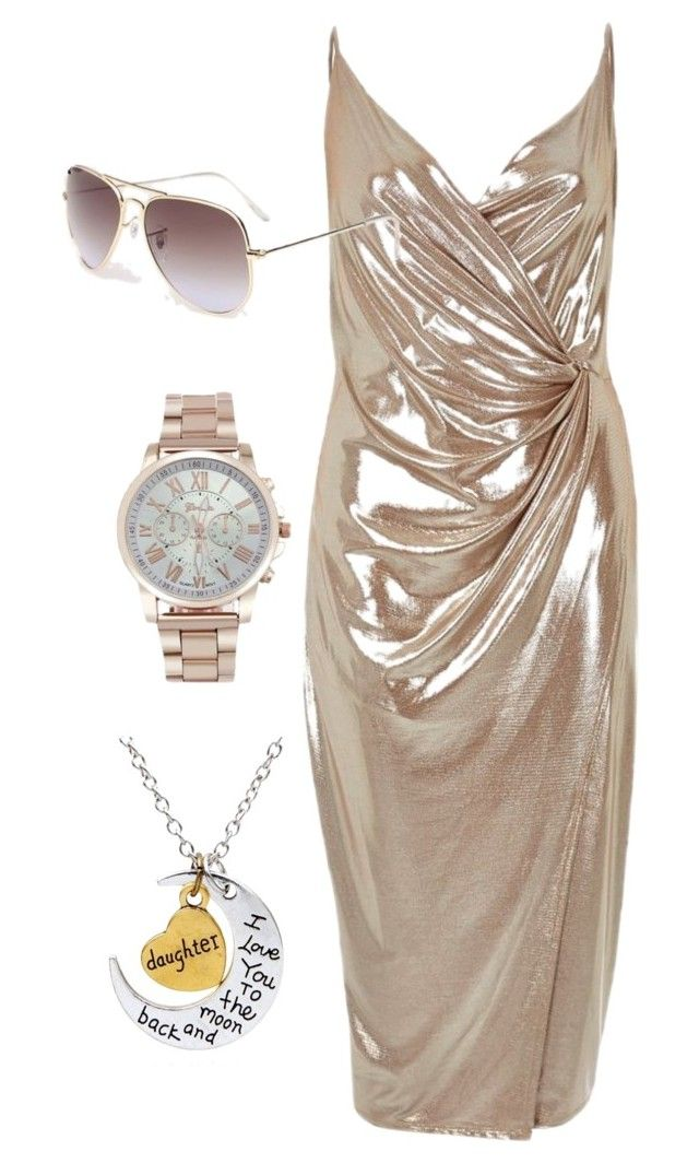 """""""Fashion metal dress elegant woman wristwatch gold color steel rhinestones watch"""" by myfriendshop ❤ liked on Polyvore featuring River Island"""
