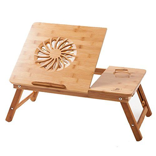 Laptop Desk Beaucoup Bamboo Adjustable Laptop Table 100% Bamboo with USB Fan Foldable Serving Bed Tray w' Drawer