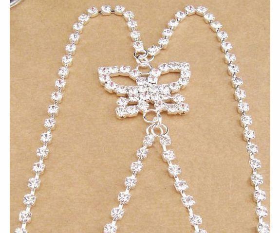 TreasureBay Stunning Diamonte Bra Straps Single Row Crystal Clear Cross Back Butterfly Detailing Design