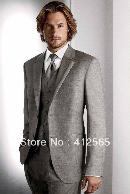 2013 New Design Gray Tuxedo men wedding suit for bridegroom  (jacket+waistcoat+trouser) $115.00