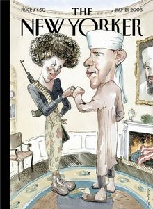 """Art Spiegelman (""""Maus"""") would edit """"TNY"""" cartoons, sanctioning this controversial look at presidential candidate Barack Obama and wife Michelle by Barry Blitt. It was intended to spoof fear of their status as African-Americans and his as an alleged Muslim. It generated fear."""