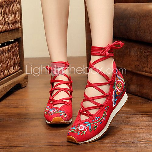 Women's Flats Spring Summer Fall Winter Comfort Espadrilles Fabric Outdoor Casual Athletic Flat Heel Lace-up Flower Blue Red - USD $22.49 ! HOT Product! A hot product at an incredible low price is now on sale! Come check it out along with other items like this. Get great discounts, earn Rewards and much more each time you shop with us!