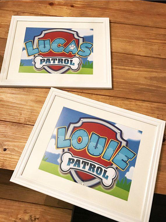 Paw Patrol custom badge birthday party or bedroom room decor wall art