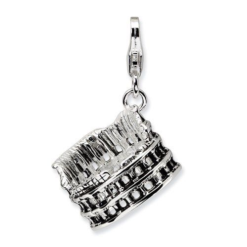 Sterling Silver 3-D Antiqued Colliseum w/Lobster Claw Clasp Clasp Charm Real Goldia Designer Perfect Jewelry Gift goldia. $25.20