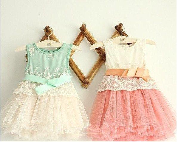 MINT/PINK Flower girl dress, lace dress, vintage girls lace/tulle dress,boho wedding dress,childrens summer dress. $64.99, via Etsy.