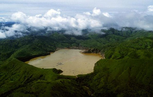 lake nyos An active crater lake that formed from an eruption about 5 centuries ago.  the murky brown formed after a deadly release of toxic gas killing 1700 people and cattle