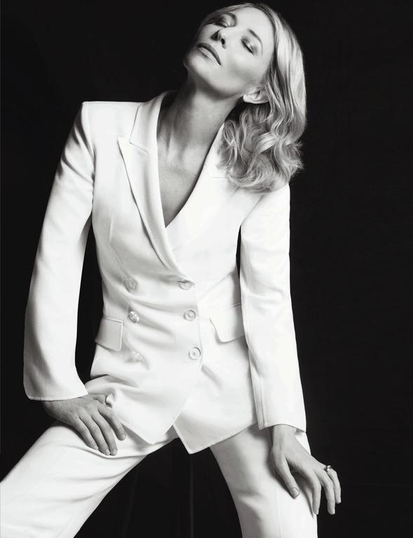 Cate Blanchett wearing a white #GiorgioArmani pantsuit