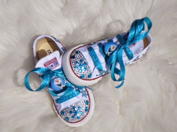 FROZEN SHOES  olaf  Frozen Party pageant girl  Frozen Costume  Frozen Birthday  swarovski Crystals  Bling  Converse allstar- Infant/Toddler/