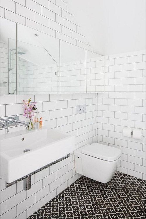 Love the white subway tiles with dark grout.