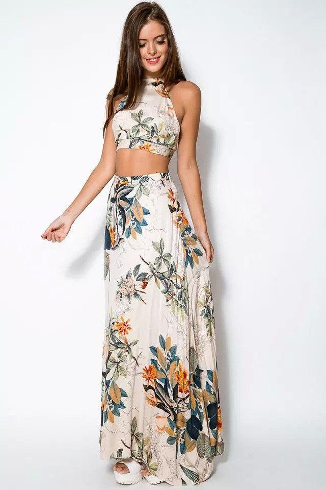 7eaae5714f14 Floral Crop Top Maxi Skirt Sets