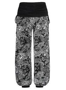 BAISHENGGT – Femme Pantalon Imprimé aztèque palazzo jambe large Noir-fleur L
