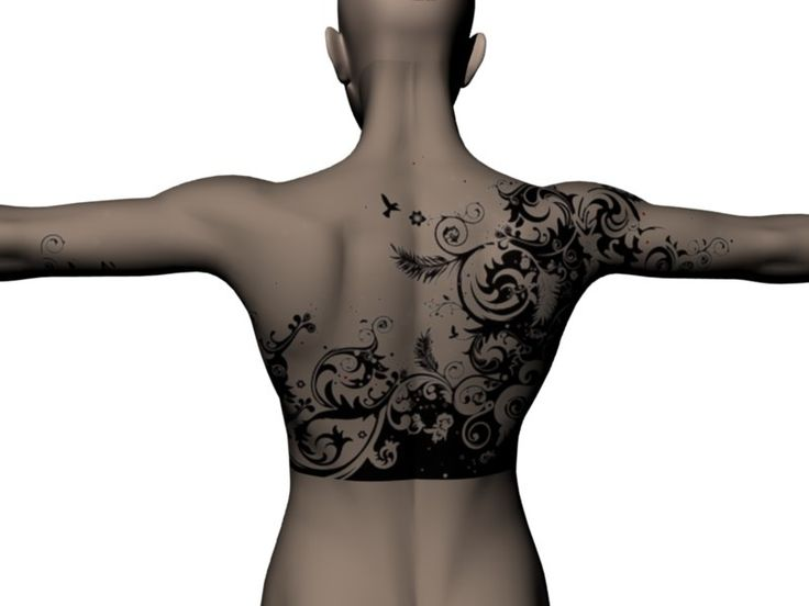 Bird And Flowers Back Tattoo Very Cool Except For The Sharp Lower Edge