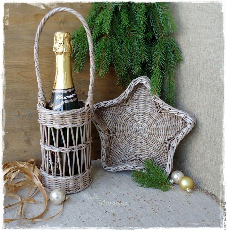 """Купить Плетеный набор """"Новогоднее настроение"""" - коричневый, короб для вина, подставка для бутылки, плетеная корзина"""