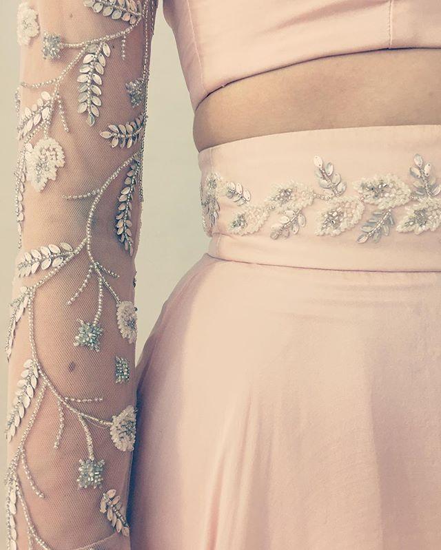 Glitter sworvski Crystal beading detail with pink accents a-line skirt skater skirt sheer mesh sleeves