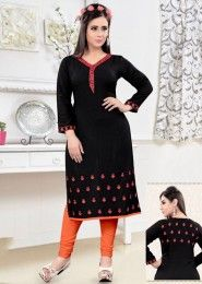 Party Wear Black Rayon Embroidered Work Kurti