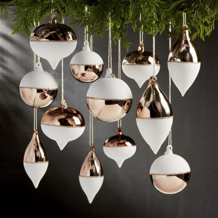 Shop Set of 12 Copper and White Ornaments.  Perfect for our 26-inch copper A-frame ornament stand, these handpainted ornaments reinterpret classic ornament shapes in shiny copper and matte white with bands of shimmering glitter.