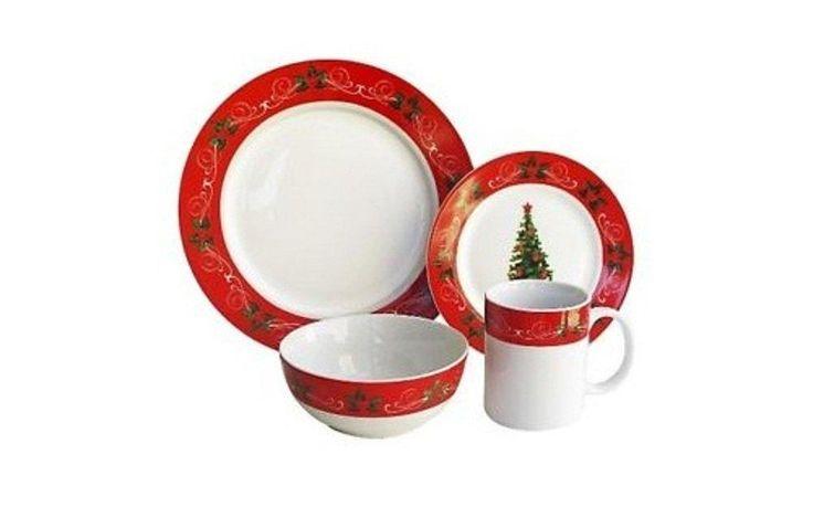 16-Piece Classic Christmas Red Dinnerware Set