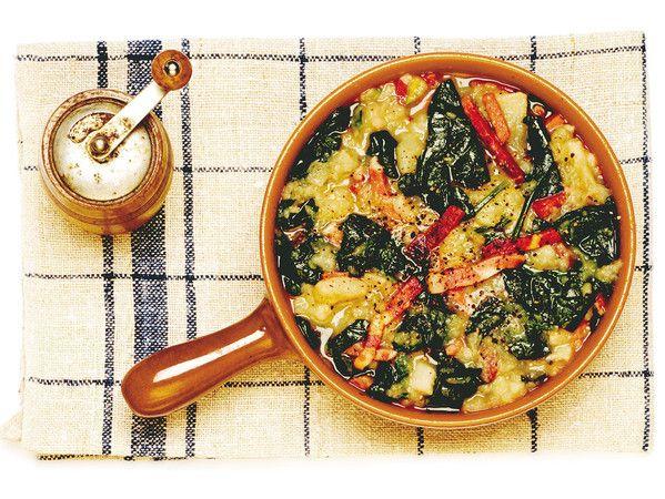 Zuppa di patate dolci e speck