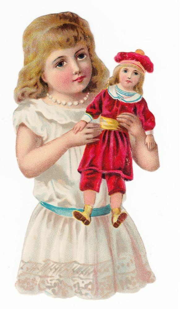 Oblaten Glanzbild  scrap die cut chromo / Mädchen mit Puppe
