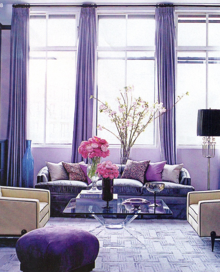 Best Purple Based Living Room With Glass Coffee Table Great 400 x 300