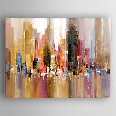 Oil Painting Modern Abstract Landscape Hand Painted Canvas with Stretched Framed – USD $ 47.24