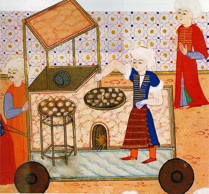 1582 şenliğinden memuniye tatlısı yapanların geçişi. Sûrnâme-i Hümayun, TSM H1344, y. 311a'dan ayrıntı
