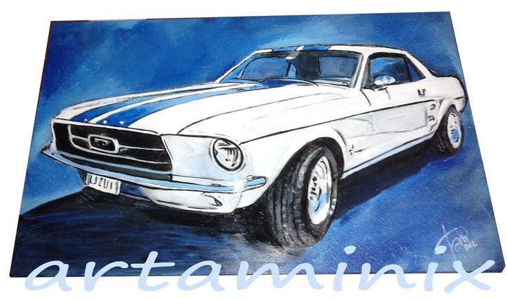 Per gli amanti dei motori ecco un omaggio! La Mustang! #handmade #motors #usa #italia #madeinitaly #blue #color #arte #pop
