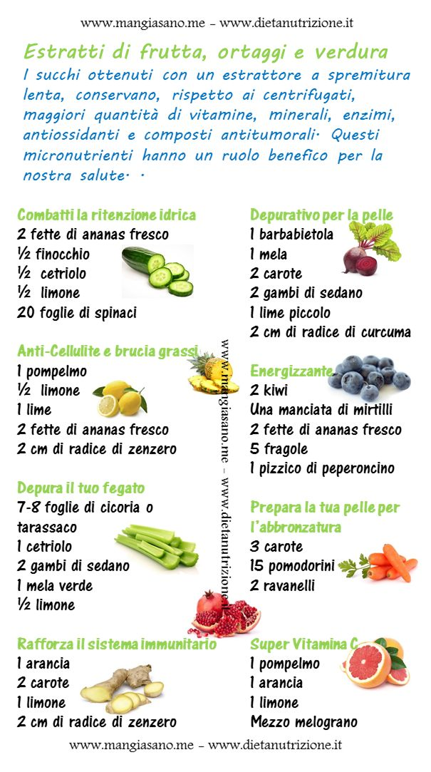 Ricette di estratti di ortaggi, verdura e frutta. Gli estratti di succhi freschi da frutta, verdura e ortaggi sono una fonte importante, concentrata e facilmente assimilabile di ACQUA, ENZI…
