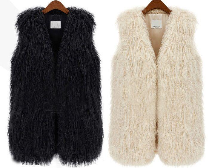 Lady casaco quente exteriores cabelo longo inverno colete de pele falso colete casaco de pele das mulheres