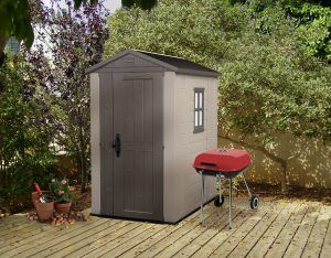 6 x 4 shed. The Keter Factor 6×4 shed has so many advantages, it's a small stylish shed, designed to fit where space is tight like on a patio or in the corner of a backyard but will look stunning in any garden. This sturdy shed enables making valuable space indoors, a home for your outdoor storage without the maintenance issues of a wooden shed. Click to read a full review of the Factor range: