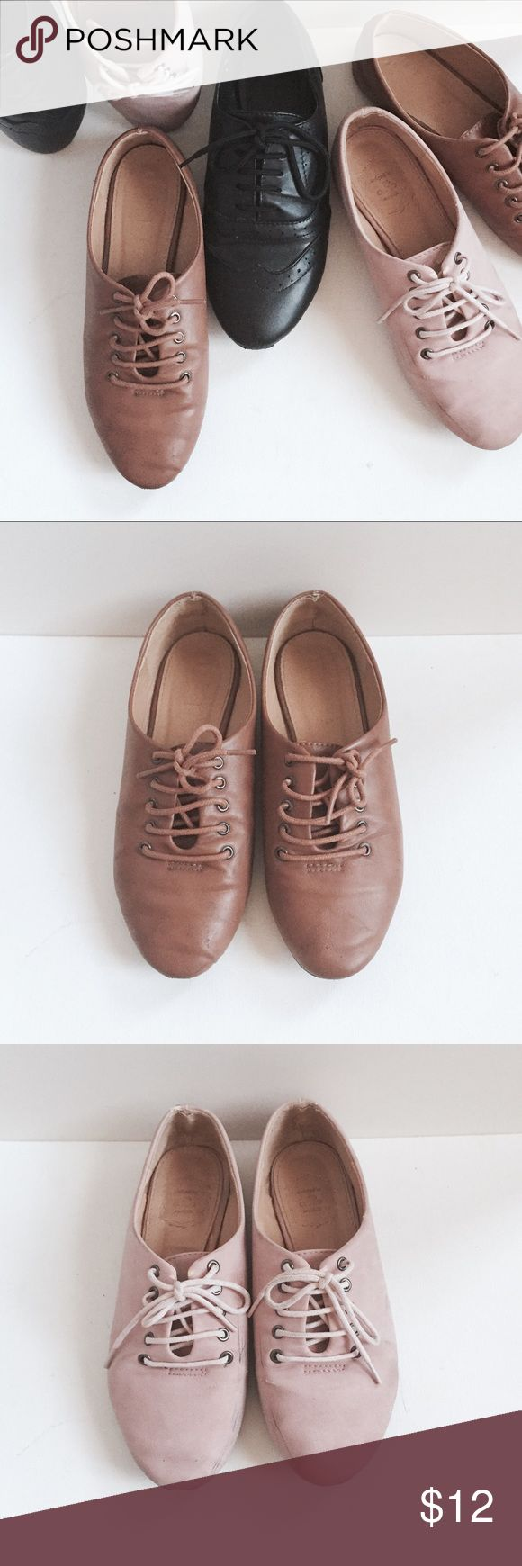 {Bundle} Oxfords x 3 Listing is for all three. Conditions as seen, scuff marks as shown. Cognac faux leather one probably has residue of Faygo from an ICP concert (yea I know , I went for the experience ) Cognac and pink suede are both size 5.5. Black pair is size 6. Listing will only be here for 2 weeks. Offers . Shoes