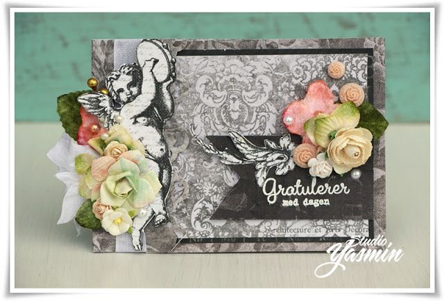 Matchbook Card Tutorial - DT Flying Unicorn - Using Prima Salvage District and assorted flowers.