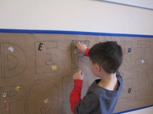 Alphabet Wall Mural - have kids cut letters from magazines to glue onto mural- great way to learn letters in various fonts