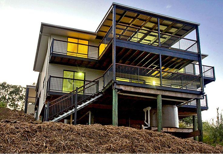 Banglow split level design on very sloping block in for Split level home designs brisbane