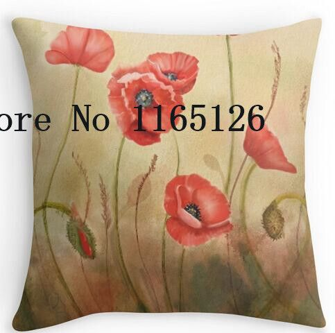 Two sides printing Red Poppies On Cream Pillow Cases for12 ''14'' 16'' 18'' 20'' 24'' inch free shipping