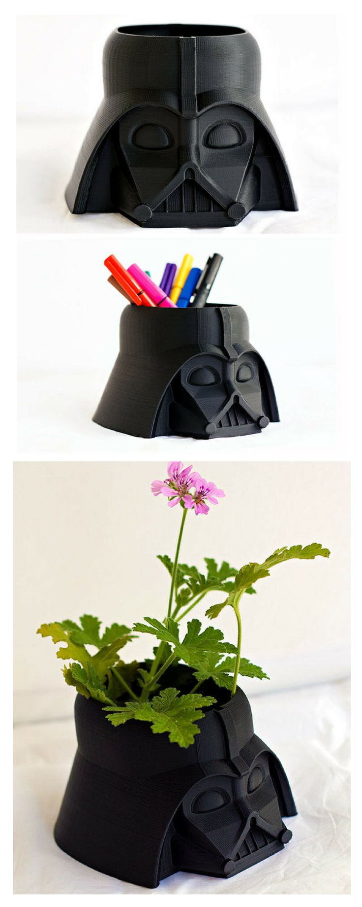 Darth Vader pot. You can use as a flower pot, pencil holder, toothbrush holder, in your kitchen. Cool gift idea for Star Wars fans. #starwars #darthvader #pot #darthvaderpot #roomdecor #geek #gift #commissionlink
