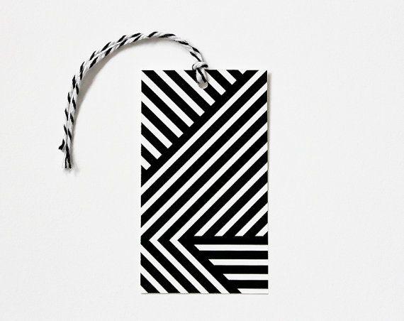 Black and White Geometric Tag