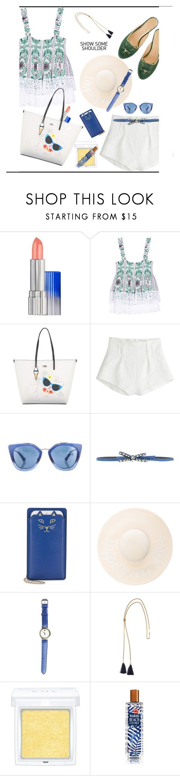 """Shimmy, Shimmy: Off-Shoulder Tops♥♥♥"" by marthalux ❤ liked on Polyvore featuring Estée Lauder, Karl Lagerfeld, Mary Katrantzou, Prada, Argento Antico, Charlotte Olympia, Eugenia Kim, Movado, Chloé and RMK"